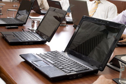 laptops used for Microsoft Office training courses.